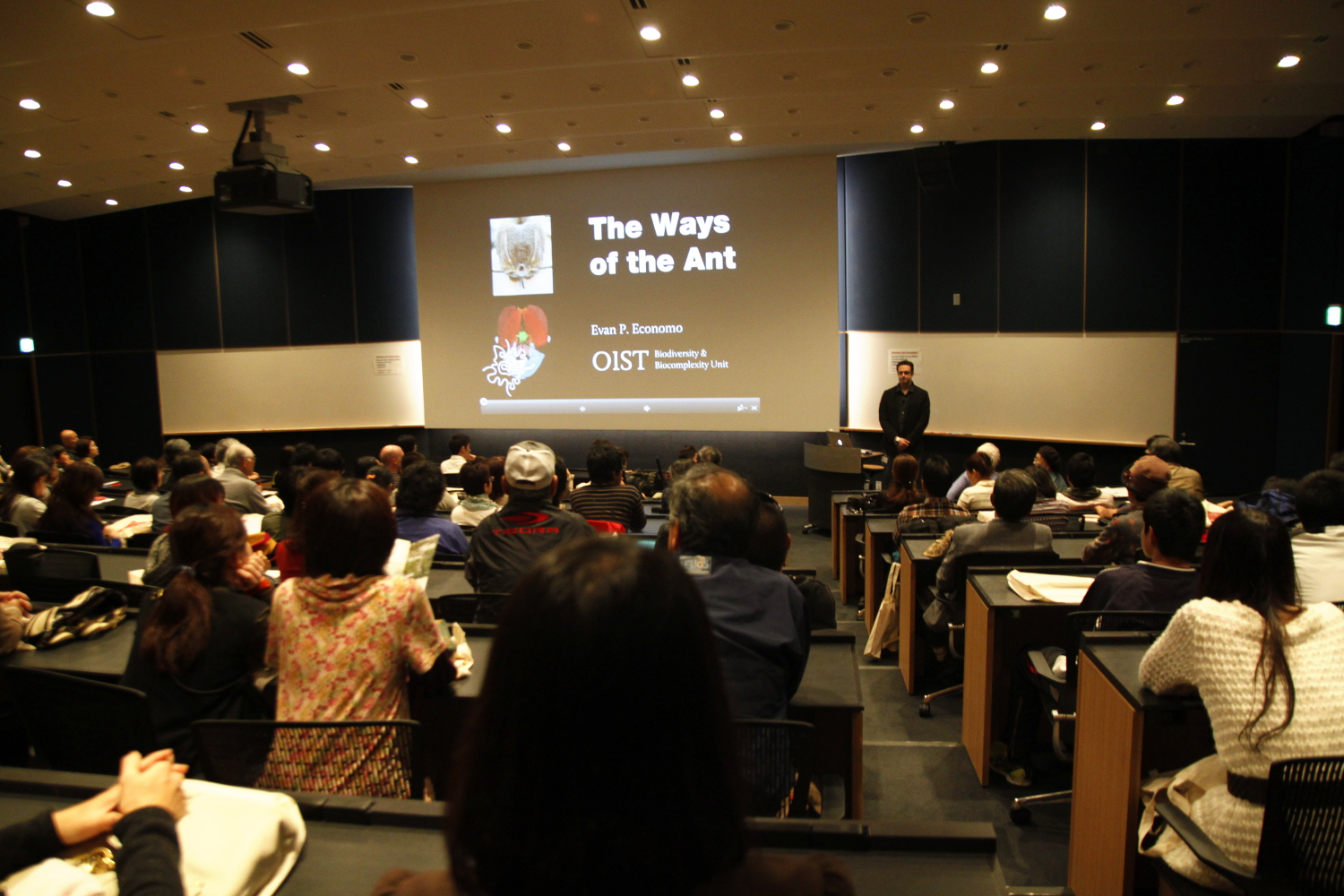 Professor Economo's talk, entitled The Ways of the Ants, during the Open Campus 2013. Photo: OIST.