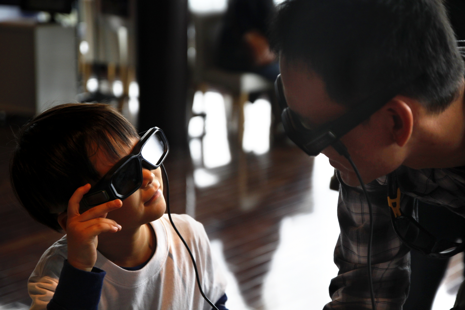 Father and son watching a 3D ant reconstruction, Open Campus 2013. Photo: OIST.