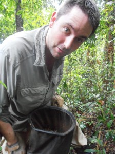 Benoit sifting leaf litter.